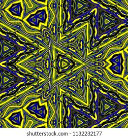 Black, yellow center triangle geometric seamless pattern background illustration. Ornamental texture, navy blue and lime green.