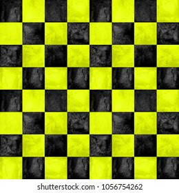 Black and yellow checkered plaid seamless pattern. Watercolor hand drawn texture background. Watercolour chess trendy background. Print for cloth design, textile, fabric, wallpaper, wrapping, tile.