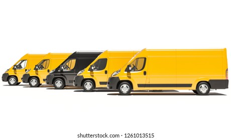 Black and Yellow Delivery Vans Aligned in a Row 3D Rendering