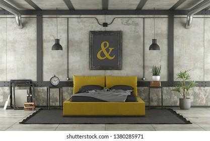 Black and yellow double bed in loft with concrete wall and iron elements - 3d rendering