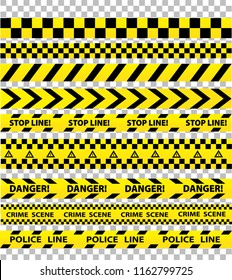 Black and yellow police stripe border, construction, danger caution seamless tapes on transparent background, stock illustration set