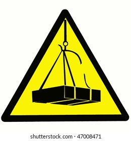 Black and yellow triangular signal of danger that something heavy falls