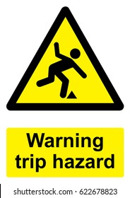 Black and Yellow Warning Sign isolated on a white background -  Trip hazard