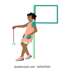 Black young girl with empty sign and yoyo. Staying back to sign. Digital illustration, white background.