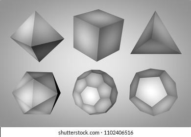 Black-and-white geometric figures tetrahedron, hexahedron,   octahedron, icosahedron, dodecahedron and truncated icosahedron. Platonic solids. Technology background. 3d illustration