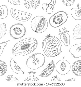 Black-and-white seamless pattern with the drawn fruit.
