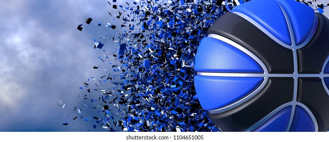 Black-Blue Basketball with Particles in the sky. 3D illustration. 3D high quality rendering.