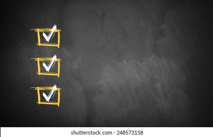 blackboard with 3 checked rows ready for customization with own checklist items