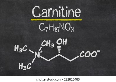 Blackboard with the chemical formula of Carnitine