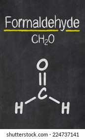 Blackboard with the chemical formula of Formaldehyde