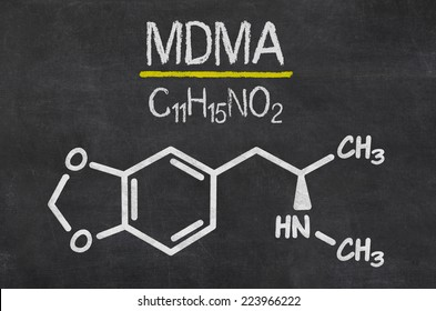 Blackboard with the chemical formula of MDMA