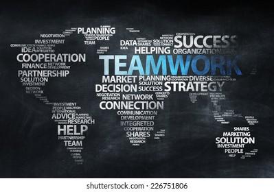 Blackboard Education World Teamwork Concept