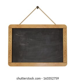 blackboard hanging in the wall, isolated on white background