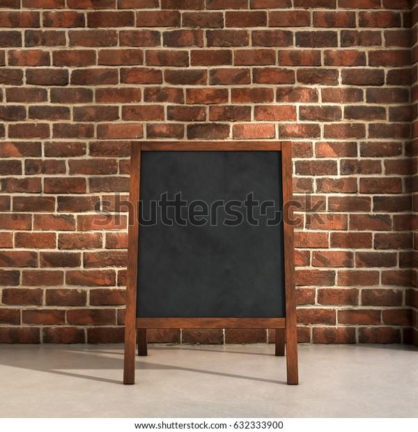 Blackboard menu inside a room 3d illustration
