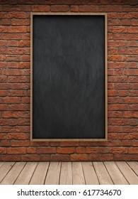 Blackboard on brick wall 3D illustration