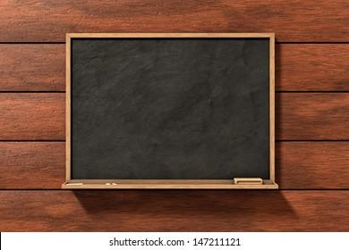 Blackboard on brown wood background