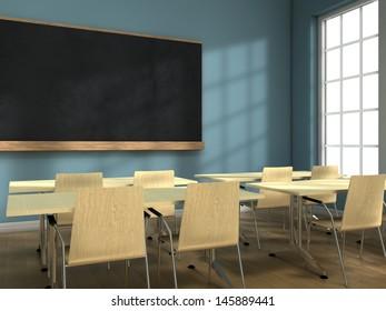 Blackboard and school desks background