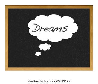 Blackboard with the word written dreams.