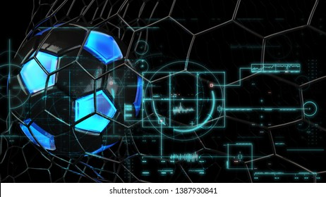 Black-Clear Blue Soccer Ball in the Black Goal Net under black lighting. Concept subjects such as technology, virtual reality, augmented reality, artificial intelligence. 3D illustration. 3D CG.