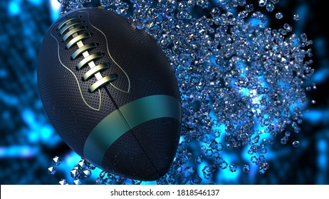 Black-Gold American Foot Ball with Diamond Particles under blue light. 3D illustration. 3D high quality rendering.