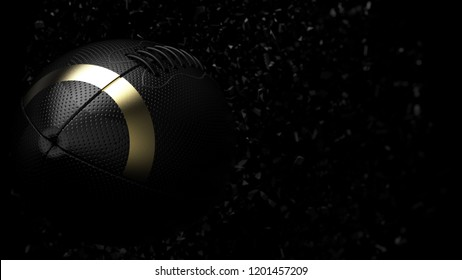 Black-Gold line American Football Ball with Black Particles. 3D illustration. 3D high quality rendering.