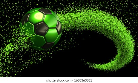 Black-Green Soccer ball with Green Rotating Particles under Black-Yellow Background. 3D sketch design and illustration. 3D high quality rendering.