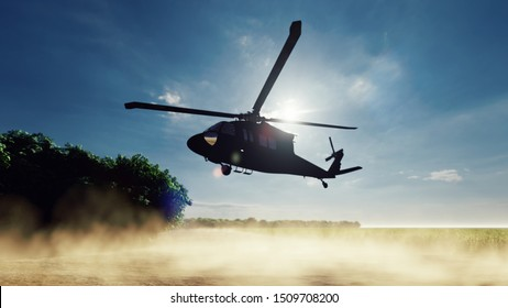 A Blackhawk military helicopter lands on a dusty road on a clear day in a deserted area. 3D Rendering
