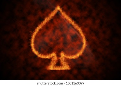 Blackjack betting and casino gamble conceptual idea with spades card suit in blazing fiery graphic isolated on black background with red cloud of smoke