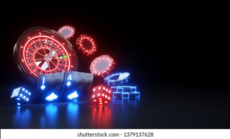 BlackJack Poker Cards and Roulette Wheel Online Casino - 3D Illustration