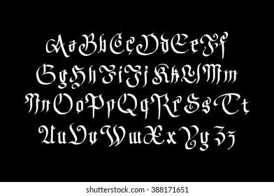 Blackletter gothic script hand-drawn font art