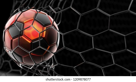 Black-Orange Soccer Ball in the Black Goal Net. 3D illustration. 3D CG. High resolution.
