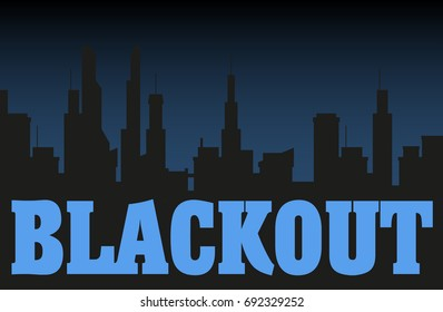 Blackout night city illustration. Dark silhouettes of buildings and dark sky