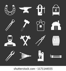 Blacksmith icons set white isolated on grey background