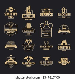 Blacksmith metal logo icons set. Simple illustration of 16 blacksmith metal logo icons for web