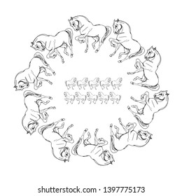 black-white graphics pen wreath of white prancing and running horses on a white background