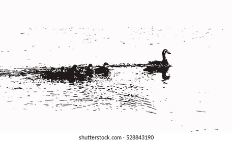 Black-white illustration of duck and ducklings swimming in lake.