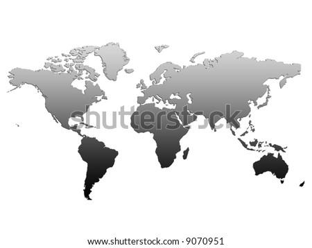 BlackWhite World Map On Simple White Background