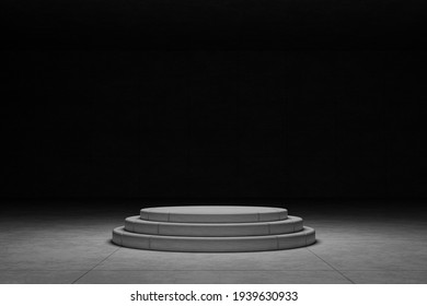 blank 3 steps cylinder cement podium, stand blank trade show booth for designers. modern loft concrete cement wall and floor room. empty house, space for your text and picture, 3d rendering