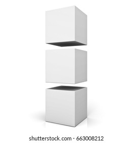 Blank 3d boxes or cubes standing isolated on white background with reflection . 3D rendering.