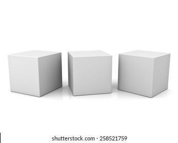 Blank 3d concept boxes isolated on white background with reflection