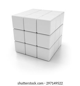Blank 3d cubes, white background, 3d render