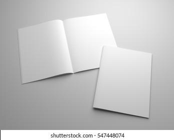 Blank 3D illustration magazines mockup