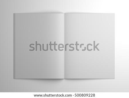 blank 3 d illustration open brochure magazine stock illustration
