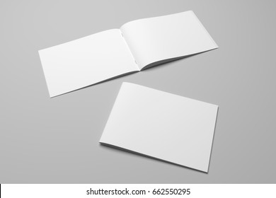 Blank 3D rendering brochure magazine on gray with clipping path