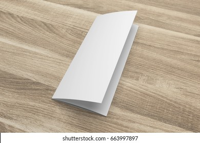 Blank 3D rendering tri-fold brochure mock-up with clipping path on wood No. 3