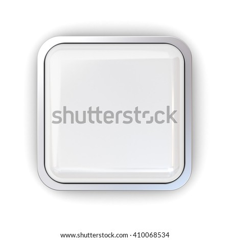 Blank 3 D Square Button Chrome Metal Stock Illustration 410068534 ...