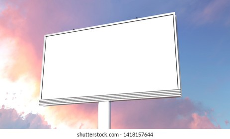 Blank 3x5 meters billboard in the city 3d rendering. Mockup for your design, Template