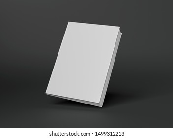 Blank A4 book hardcover mockup floating on grey background 3D rendering