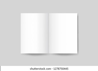 Blank A4 photorealistic brochure mockup on light grey background, 3d rendering.