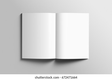 Blank A4 photorealistic brochure mockup on light grey background, 3d Illustration.